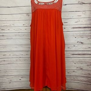 Lane Bryant Orange Chiffon Sequin Dress Size 26/28